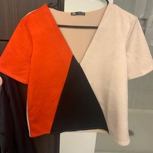 Zara suede color block shirt